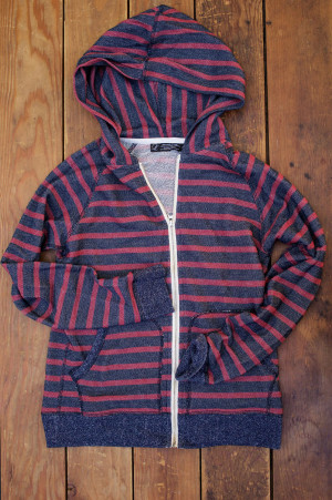 Oxblood Stripe French Terry Hoodie